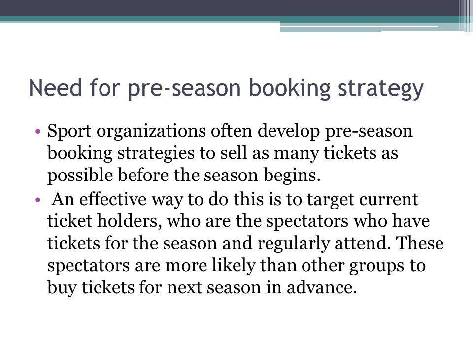 Need for pre-season booking strategy