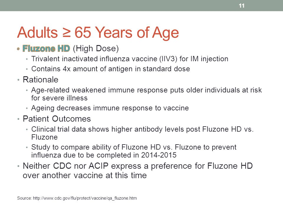 Adults ≥ 65 Years of Age Fluzone HD (High Dose) Rationale
