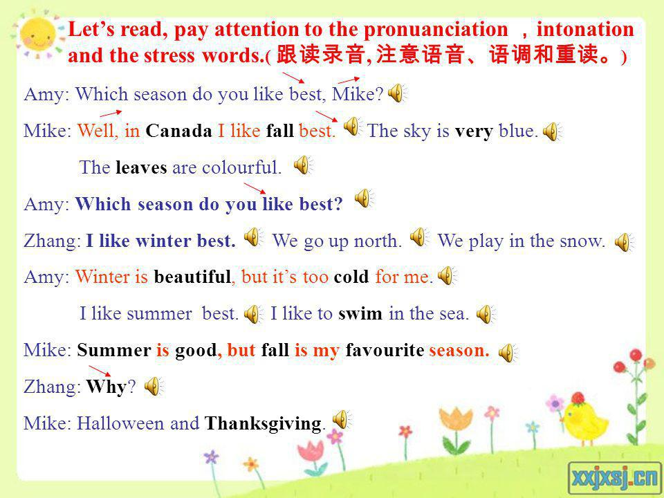 Let's read, pay attention to the pronuanciation ,intonation and the stress words.( 跟读录音, 注意语音、语调和重读。)