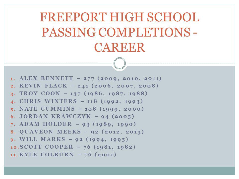 FREEPORT HIGH SCHOOL PASSING COMPLETIONS - CAREER