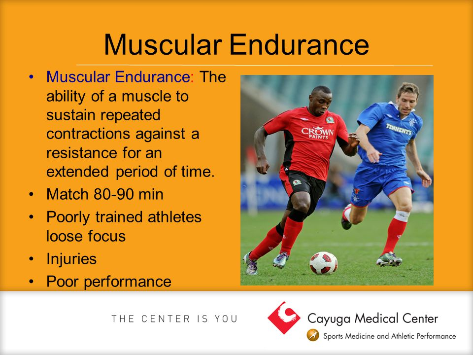 Muscular Endurance Muscular Endurance: The ability of a muscle to sustain repeated contractions against a resistance for an extended period of time.