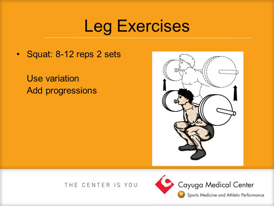 Leg Exercises Squat: 8-12 reps 2 sets Use variation Add progressions