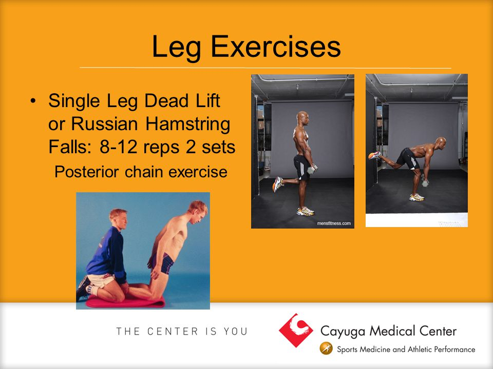 Leg Exercises Single Leg Dead Lift or Russian Hamstring Falls: 8-12 reps 2 sets.
