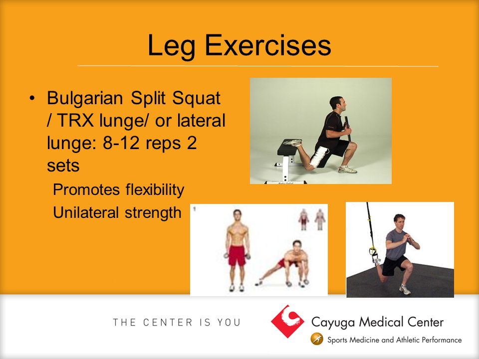 Leg Exercises Bulgarian Split Squat / TRX lunge/ or lateral lunge: 8-12 reps 2 sets. Promotes flexibility.