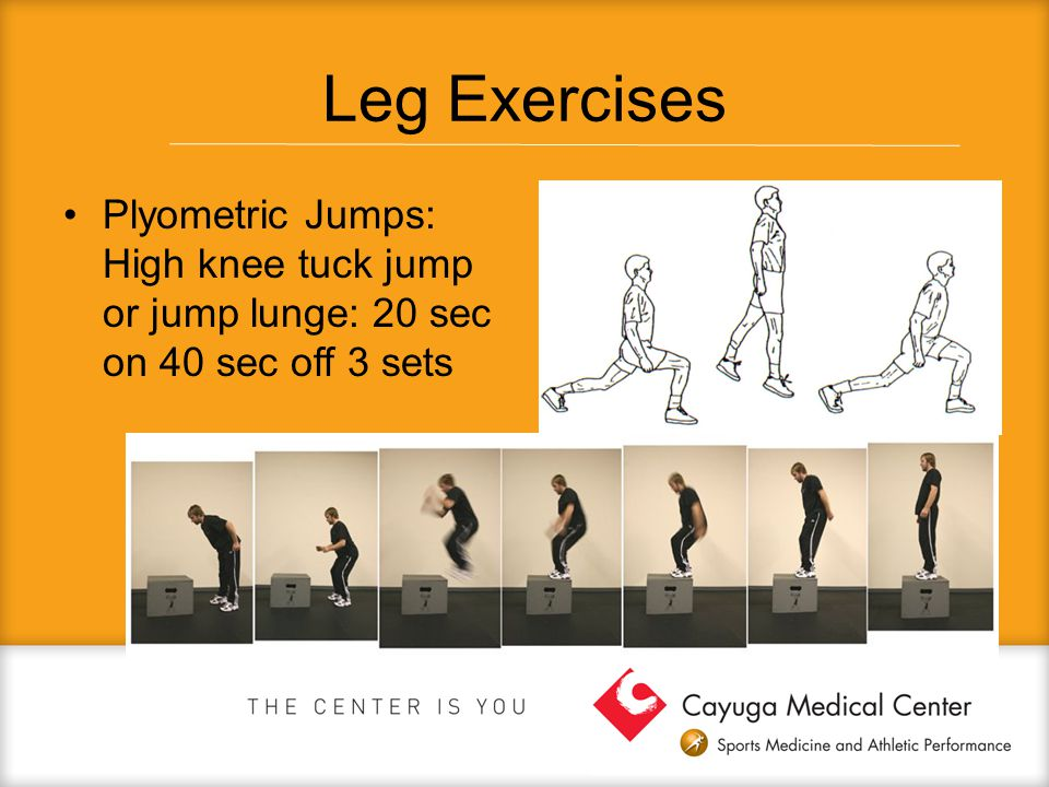 Leg Exercises Plyometric Jumps: High knee tuck jump or jump lunge: 20 sec on 40 sec off 3 sets