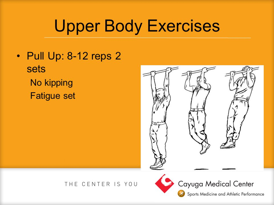 Upper Body Exercises Pull Up: 8-12 reps 2 sets No kipping Fatigue set