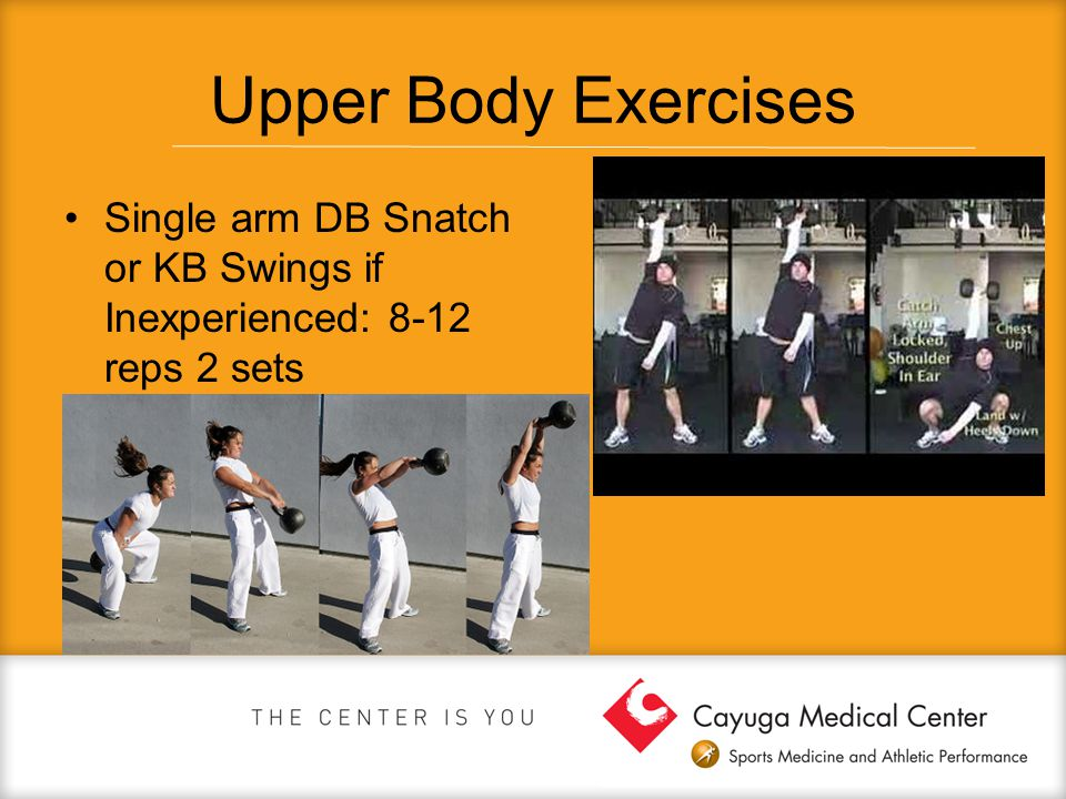 Upper Body Exercises Single arm DB Snatch or KB Swings if Inexperienced: 8-12 reps 2 sets