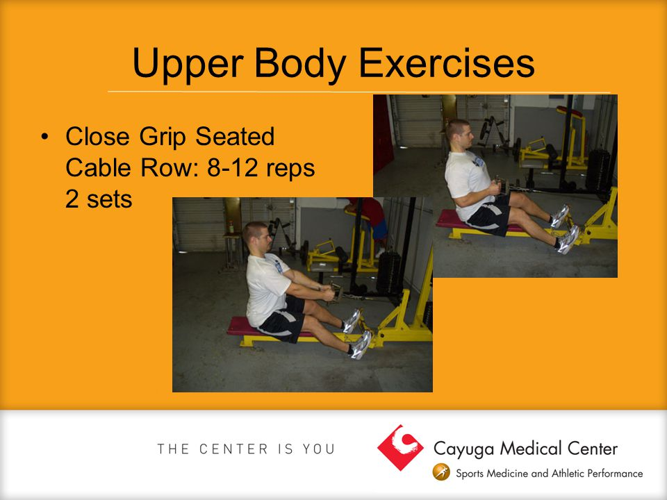 Upper Body Exercises Close Grip Seated Cable Row: 8-12 reps 2 sets