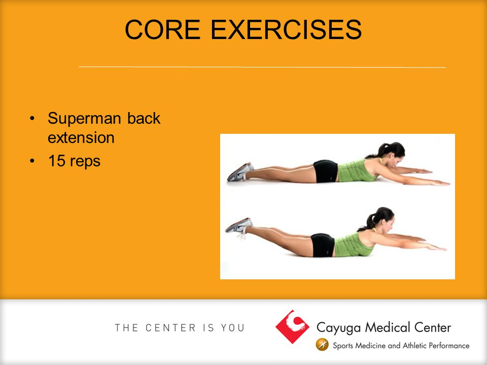 CORE EXERCISES Superman back extension 15 reps
