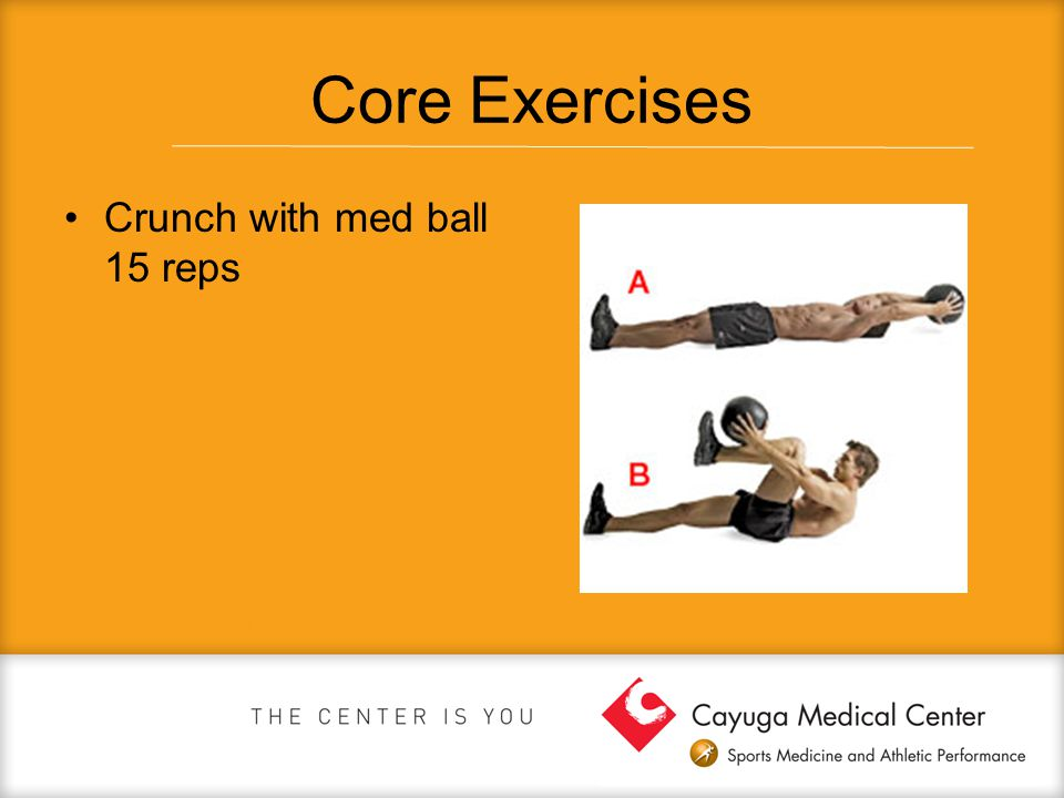 Core Exercises Crunch with med ball 15 reps