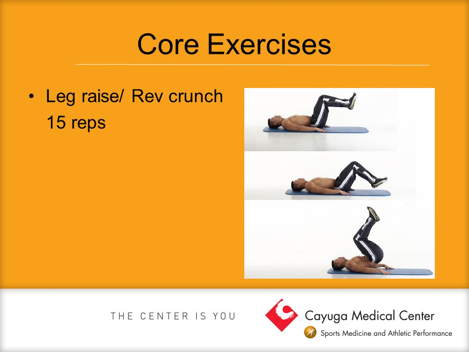Core Exercises Leg raise/ Rev crunch 15 reps