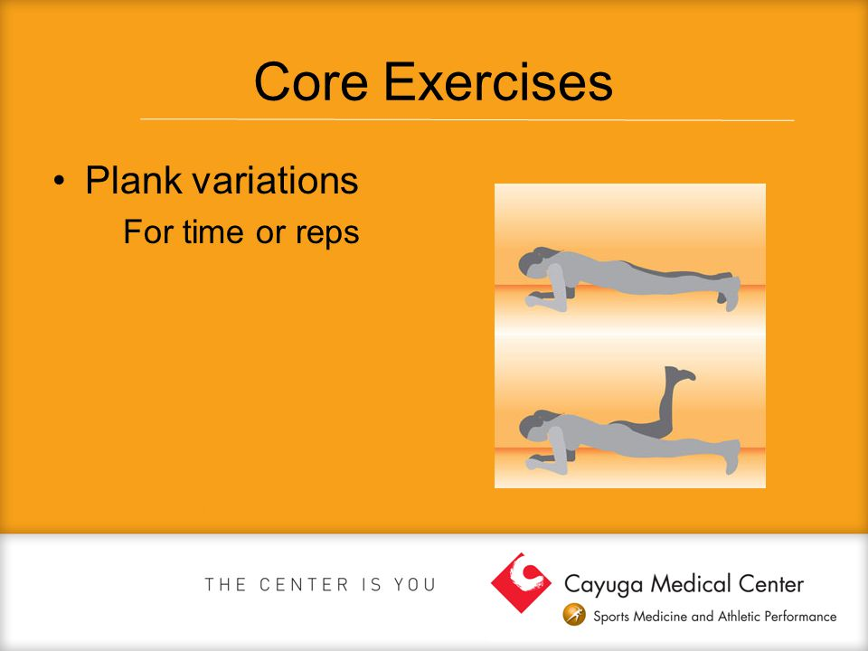 Core Exercises Plank variations For time or reps