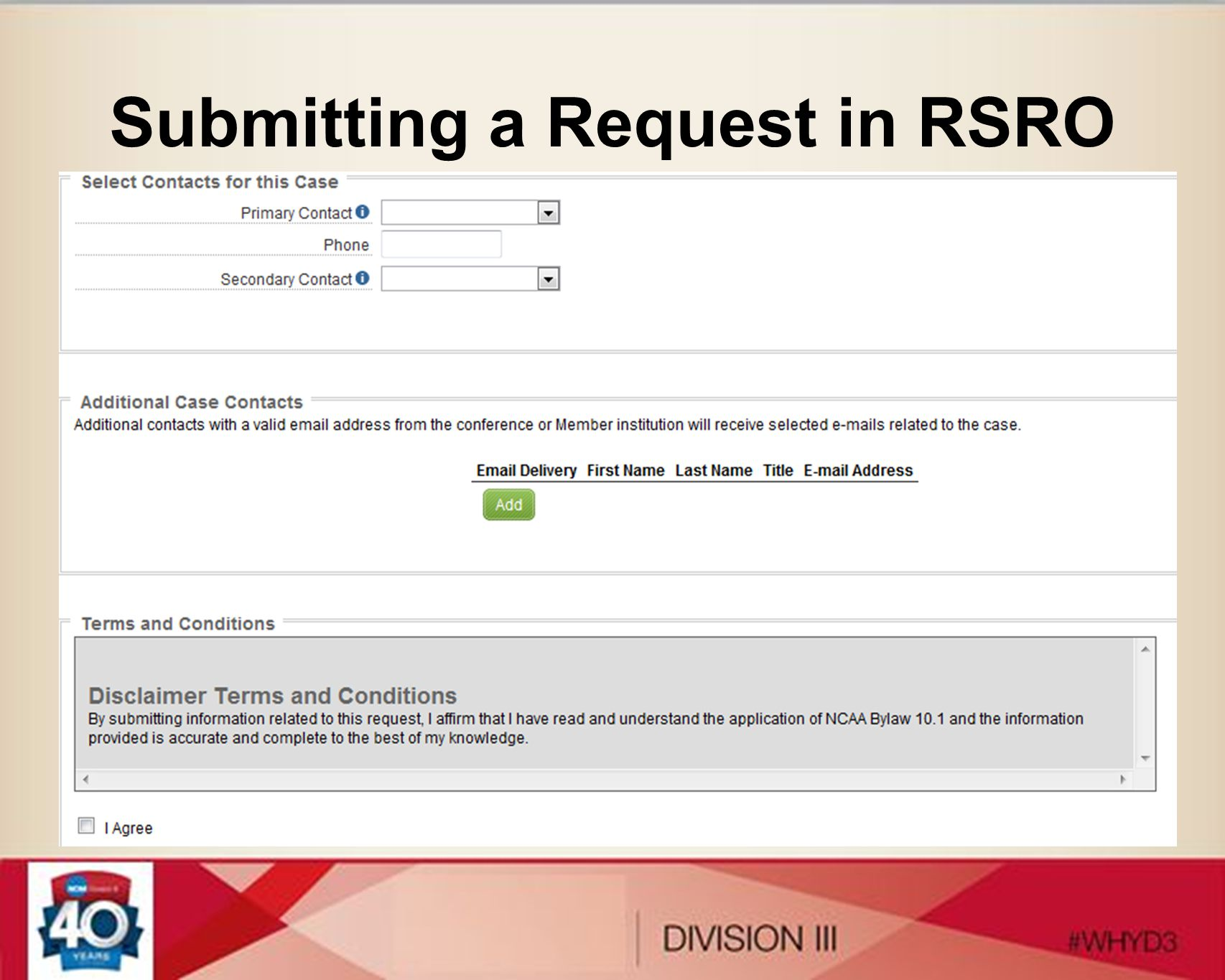 Submitting a Request in RSRO
