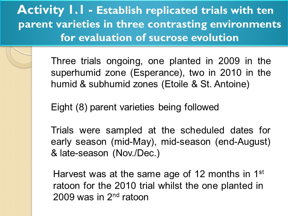 Activity 1.1 - Establish replicated trials with ten parent varieties in three contrasting environments for evaluation of sucrose evolution