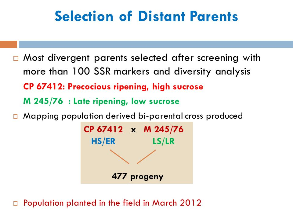 Selection of Distant Parents