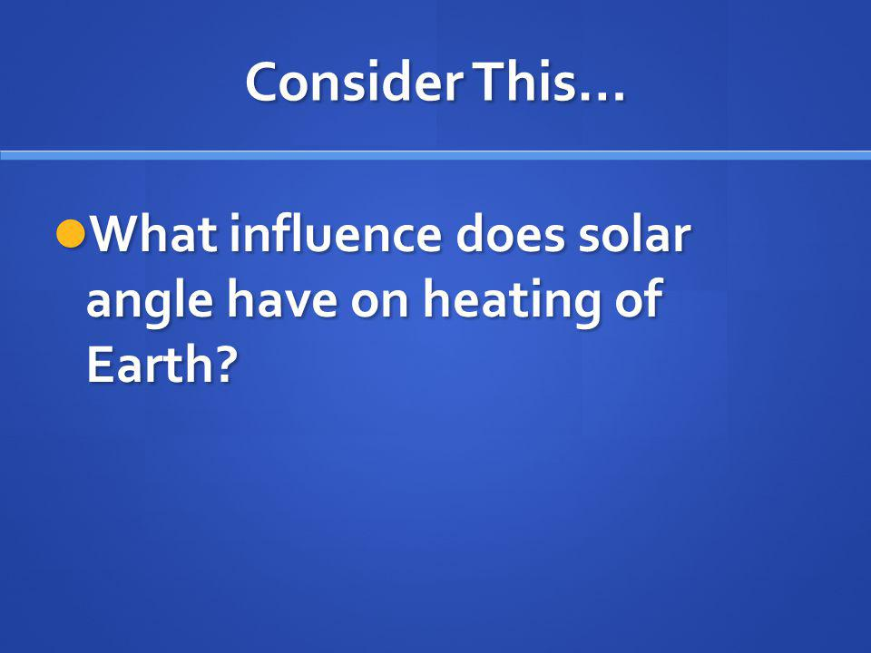 Consider This… What influence does solar angle have on heating of Earth