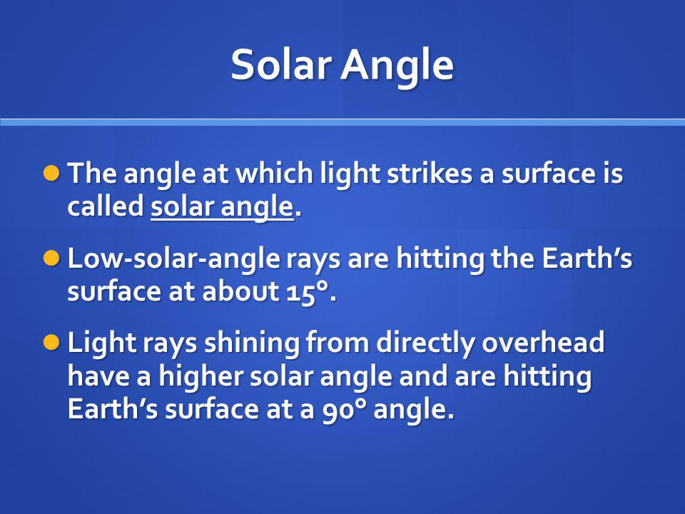 Solar Angle The angle at which light strikes a surface is called solar angle. Low-solar-angle rays are hitting the Earth's surface at about 15°.