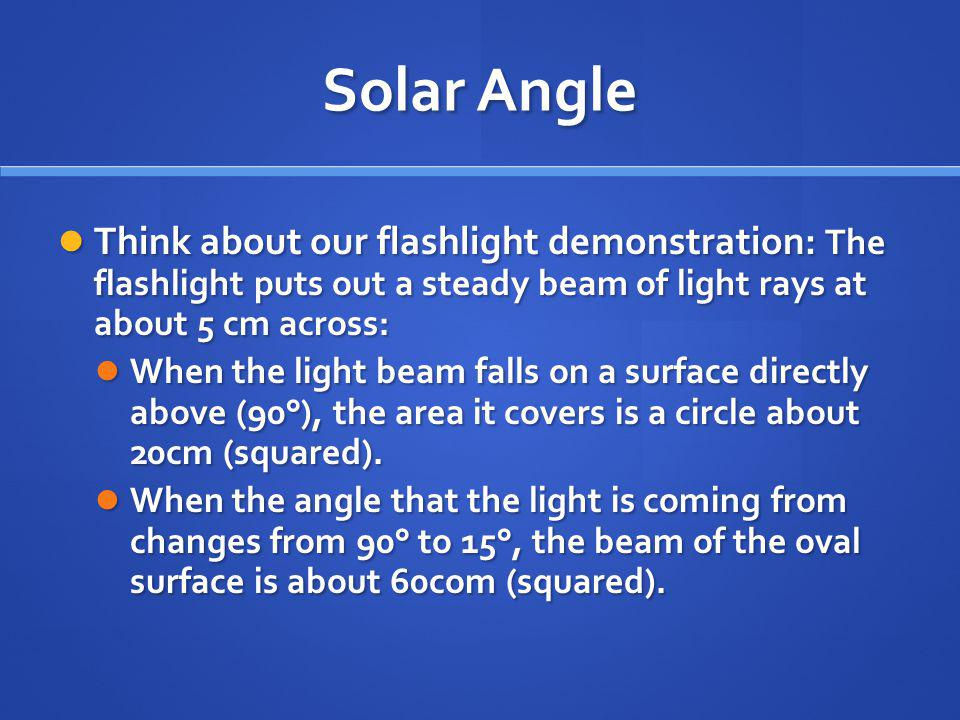 Solar Angle Think about our flashlight demonstration: The flashlight puts out a steady beam of light rays at about 5 cm across: