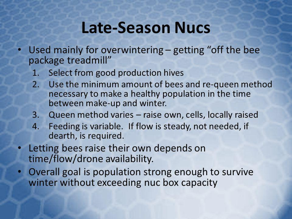 Late-Season Nucs Used mainly for overwintering – getting off the bee package treadmill Select from good production hives.