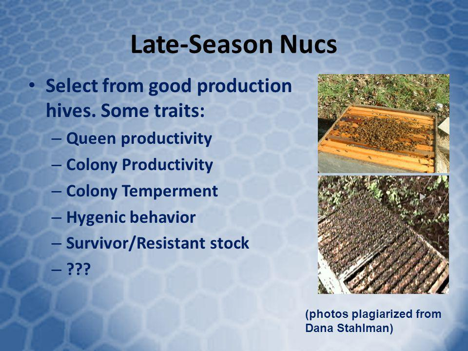 Late-Season Nucs Select from good production hives. Some traits: