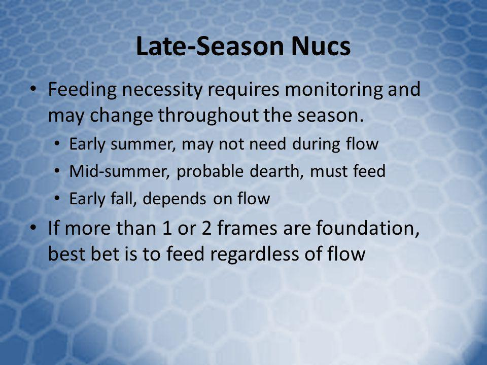 Late-Season Nucs Feeding necessity requires monitoring and may change throughout the season. Early summer, may not need during flow.