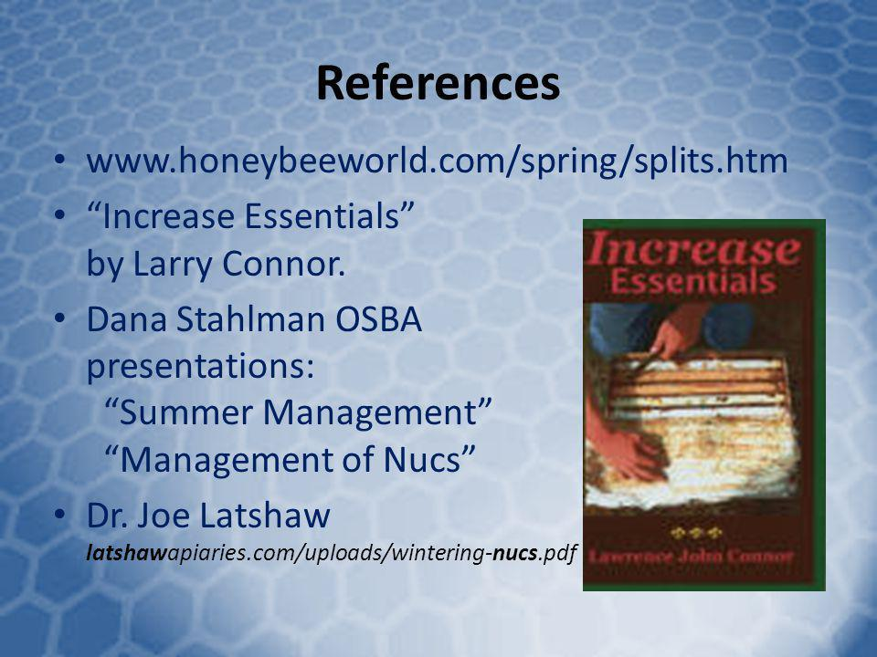 References www.honeybeeworld.com/spring/splits.htm