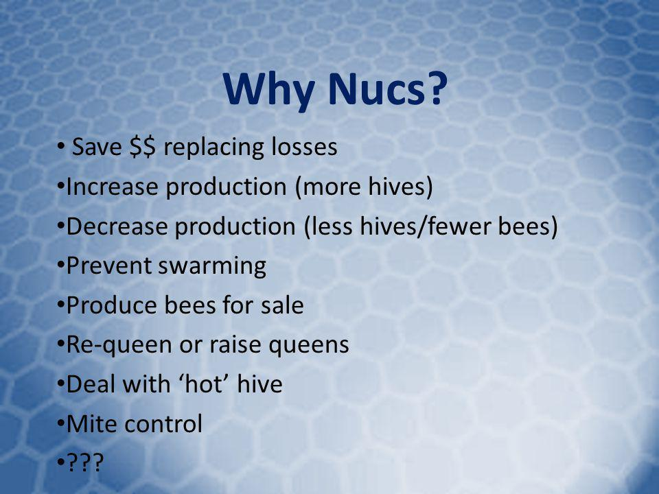 Why Nucs Save $$ replacing losses Increase production (more hives)