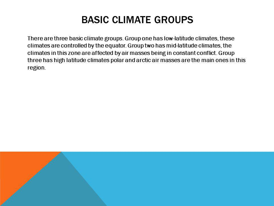 BASIC CLIMATE GROUPS