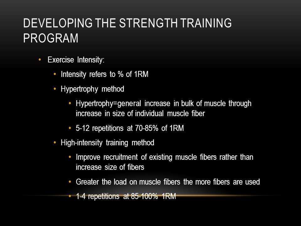 Developing the Strength Training Program