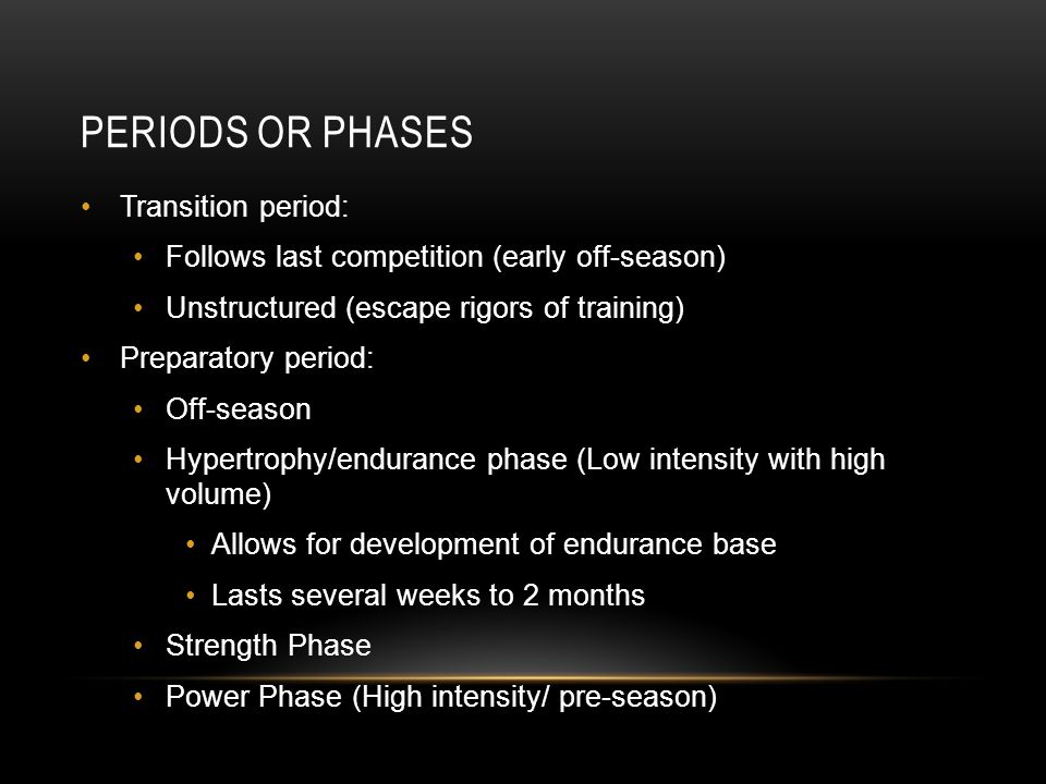 Periods or Phases Transition period:
