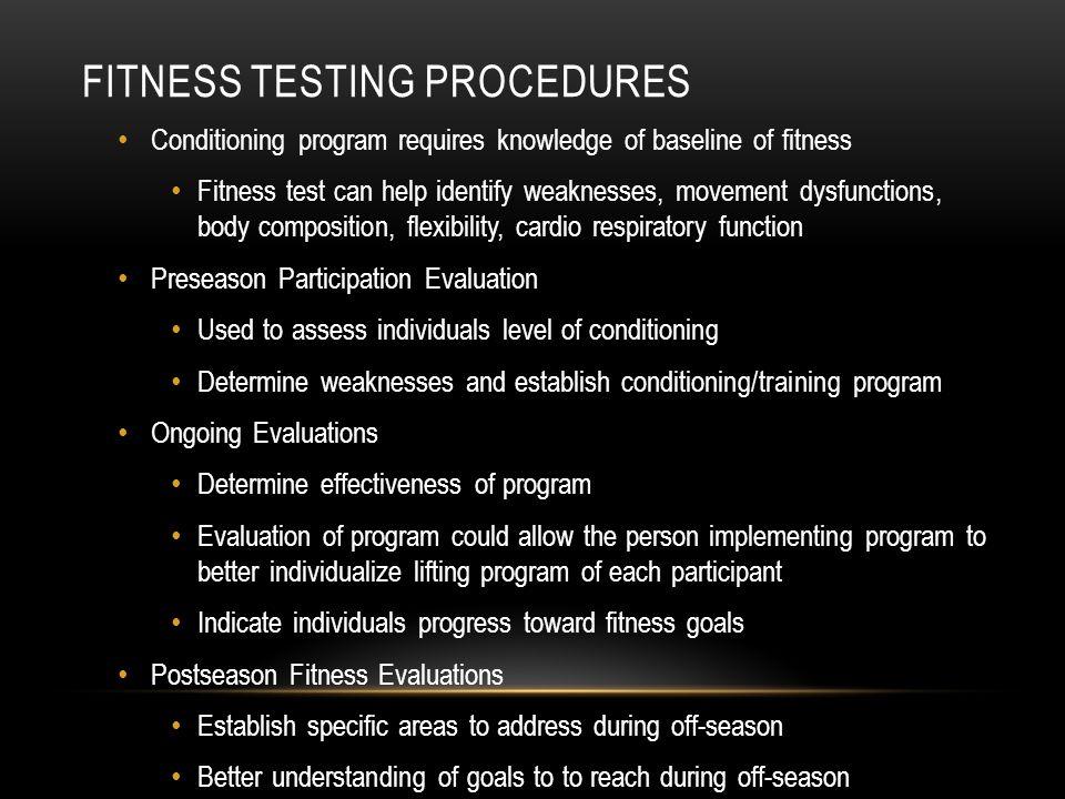Fitness Testing Procedures