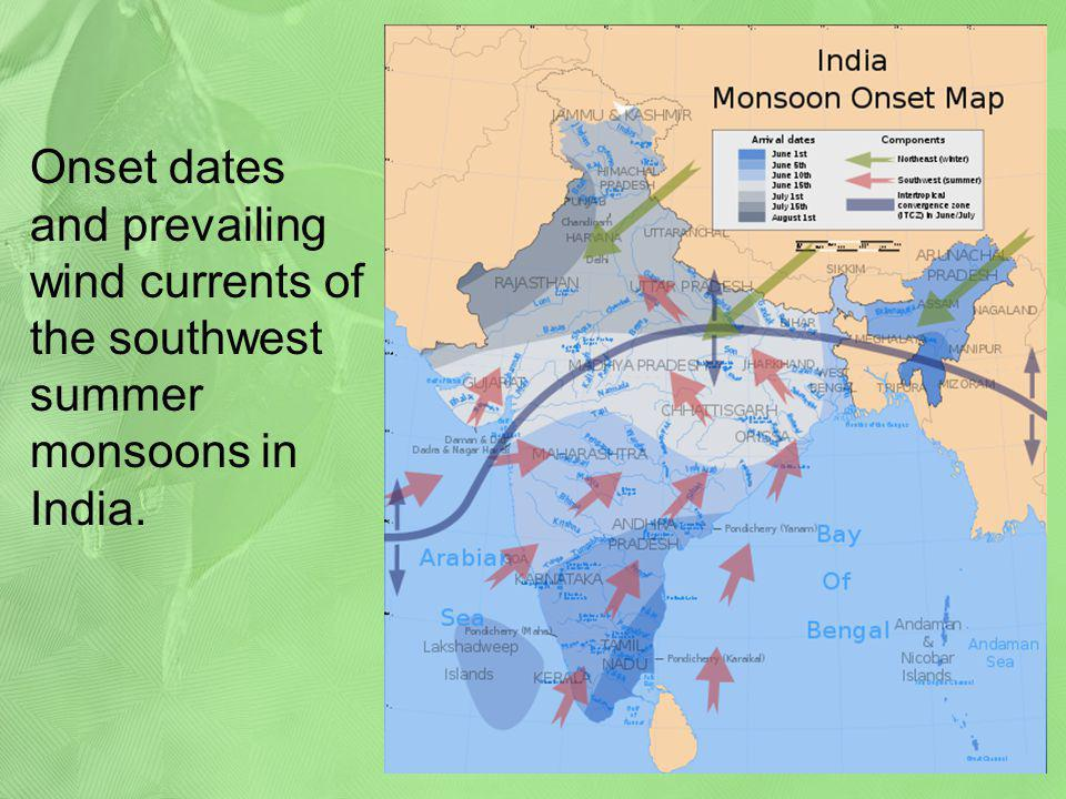 Onset dates and prevailing wind currents of the southwest summer monsoons in India.