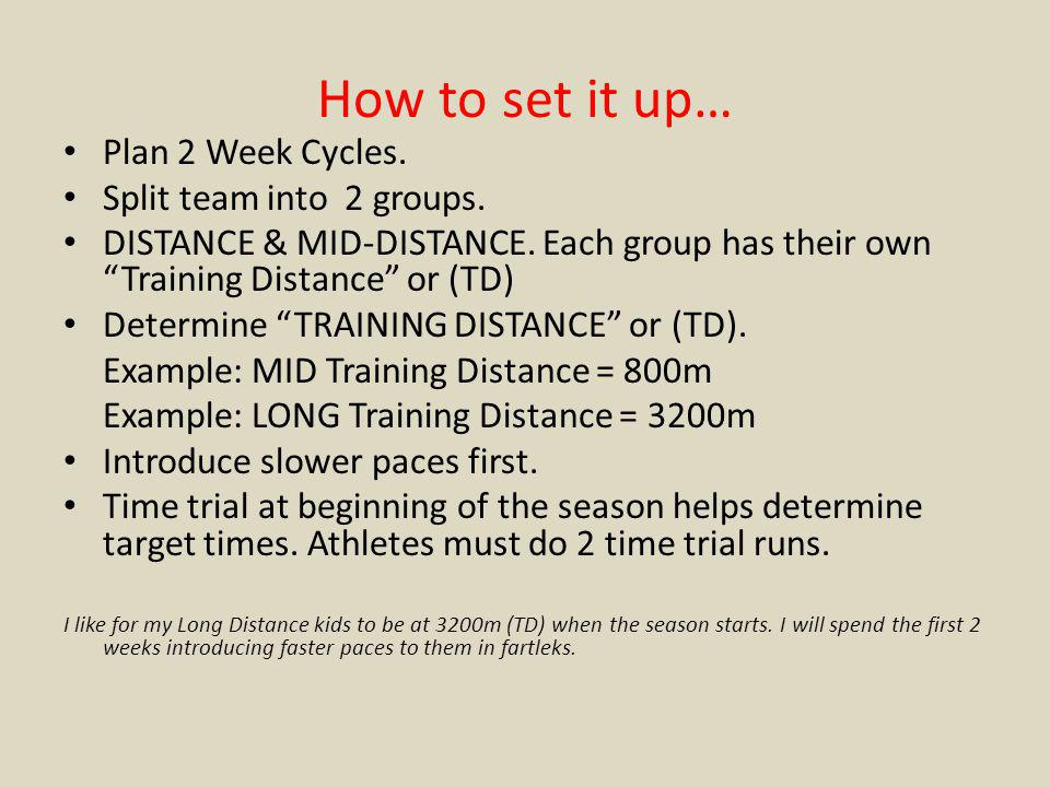 How to set it up… Plan 2 Week Cycles. Split team into 2 groups.