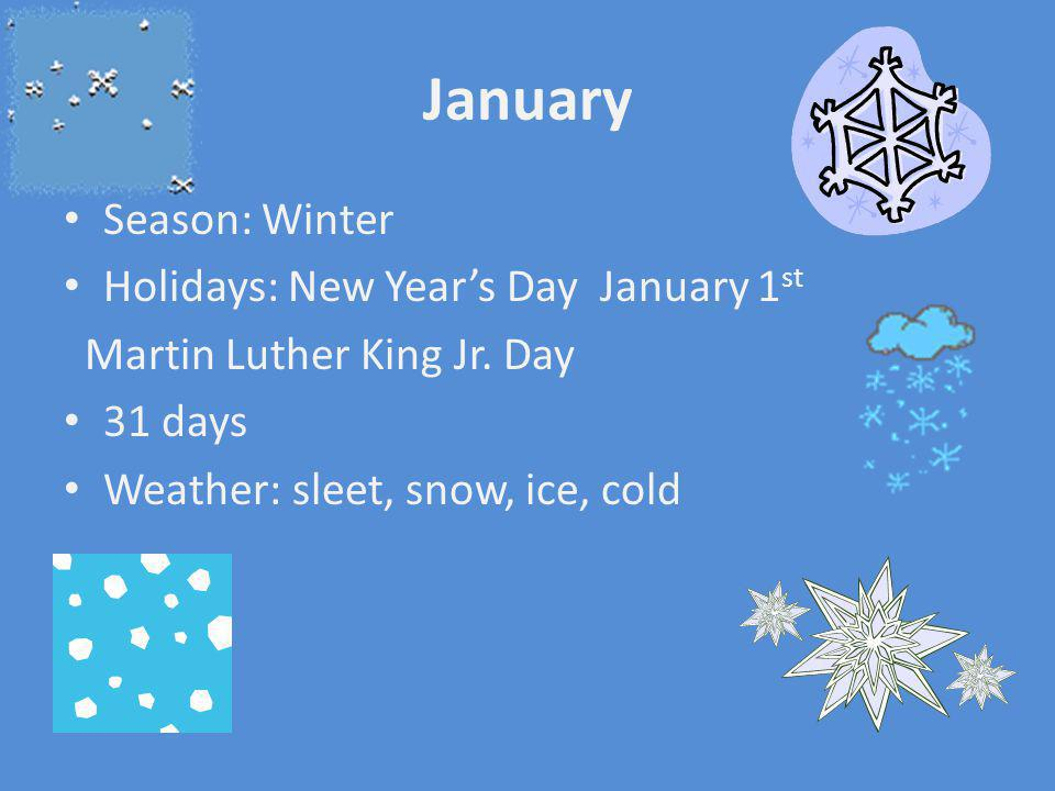 January Season: Winter Holidays: New Year's Day January 1st