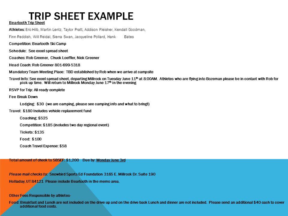 Trip sheet example