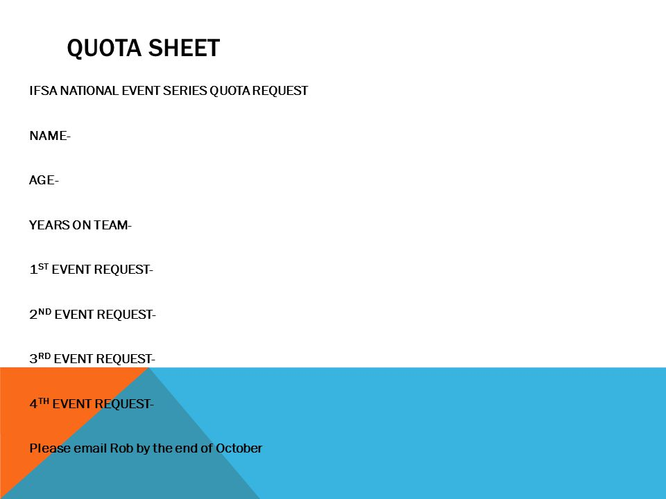 Quota Sheet