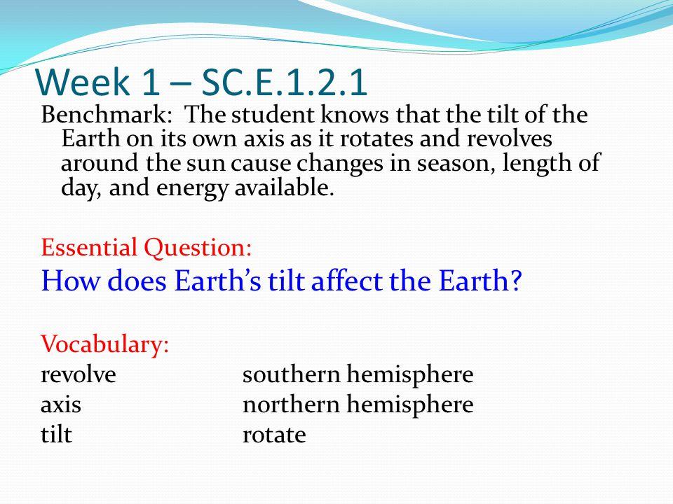 Week 1 – SC.E.1.2.1 How does Earth's tilt affect the Earth