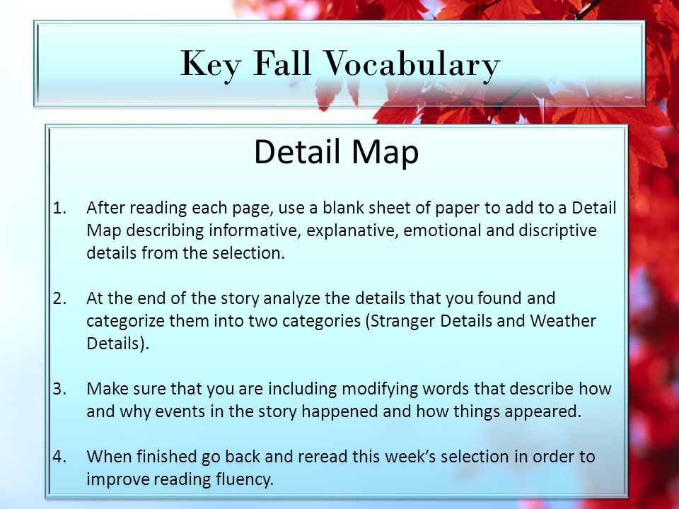Key Fall Vocabulary Detail Map