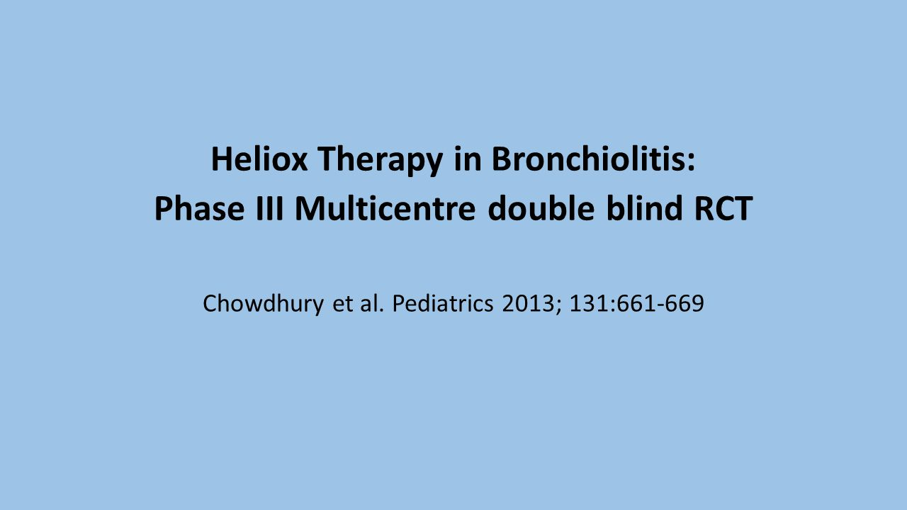 Heliox Therapy in Bronchiolitis: