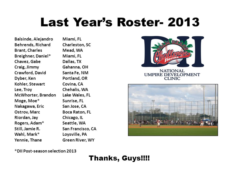 Last Year's Roster- 2013 Balsinde, Alejandro Miami, FL
