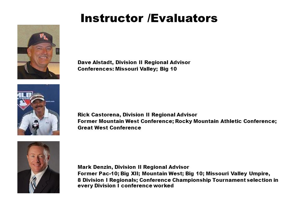 Instructor /Evaluators