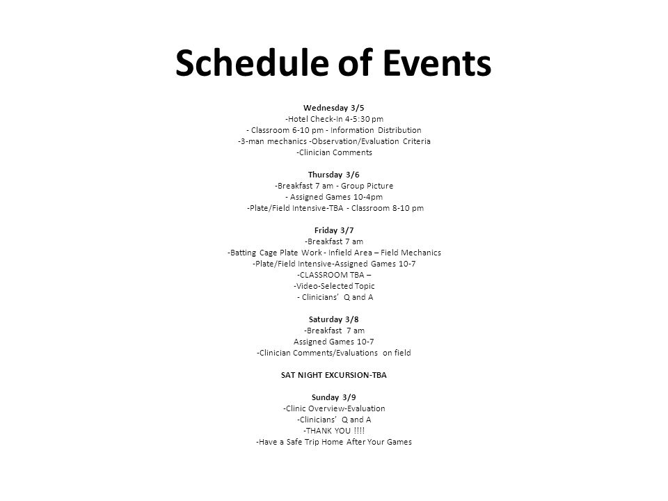 Schedule of Events Wednesday 3/5 -Hotel Check-In 4-5:30 pm