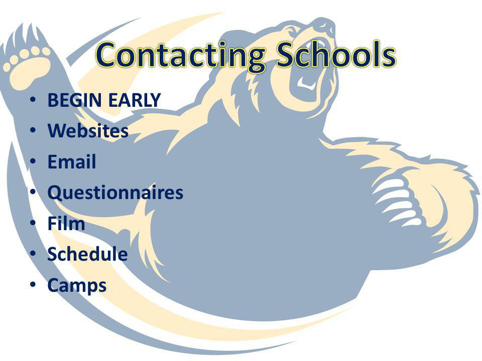 Contacting Schools BEGIN EARLY Websites Email Questionnaires Film