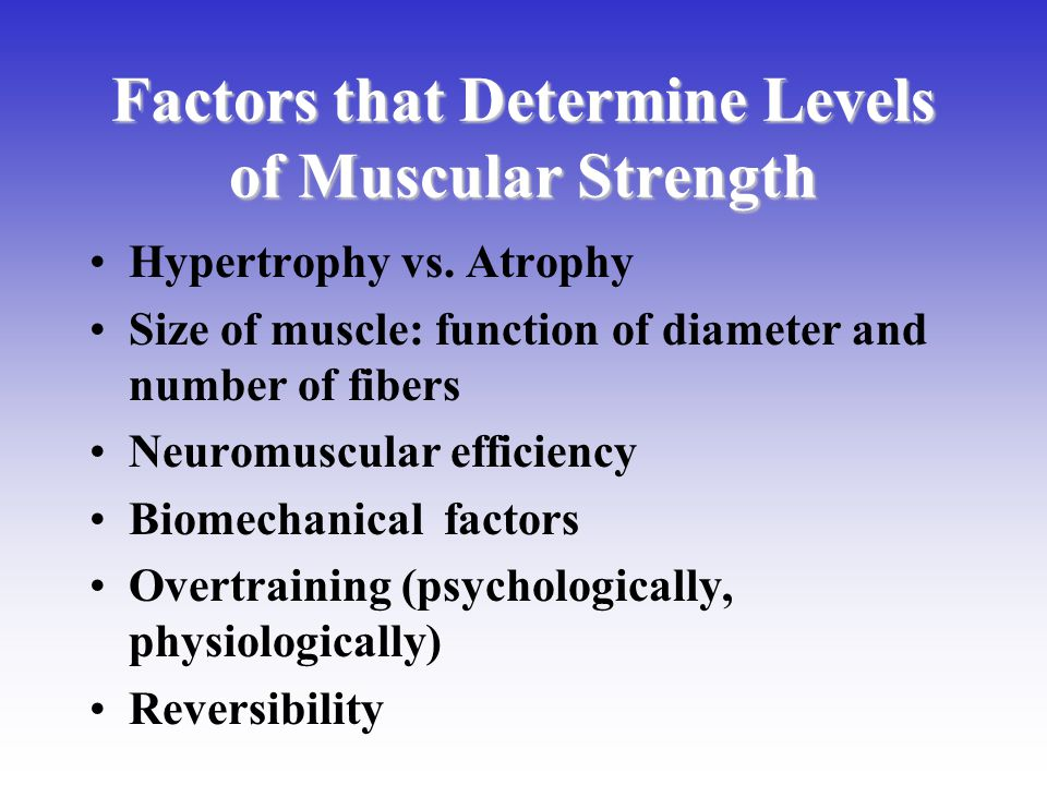 Factors that Determine Levels of Muscular Strength