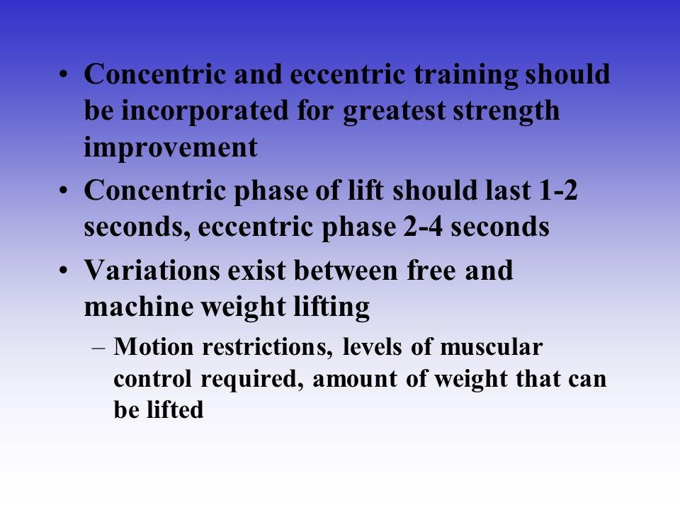 Variations exist between free and machine weight lifting
