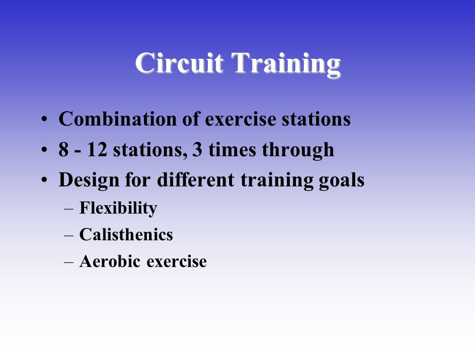 Circuit Training Combination of exercise stations