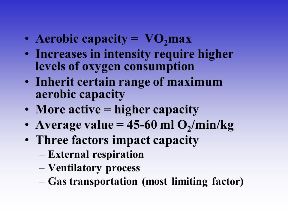 Aerobic capacity = VO2max