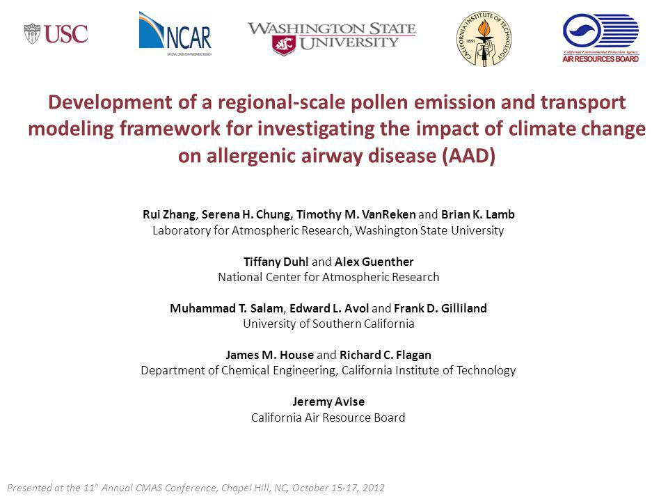 Development of a regional-scale pollen emission and transport modeling framework for investigating the impact of climate change on allergenic airway disease (AAD)