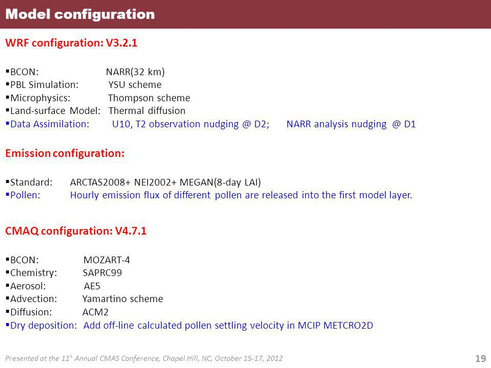 Model configuration WRF configuration: V3.2.1 Emission configuration: