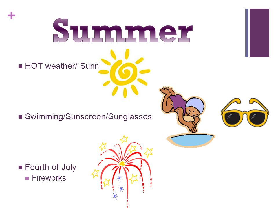 Summer HOT weather/ Sunny Swimming/Sunscreen/Sunglasses Fourth of July